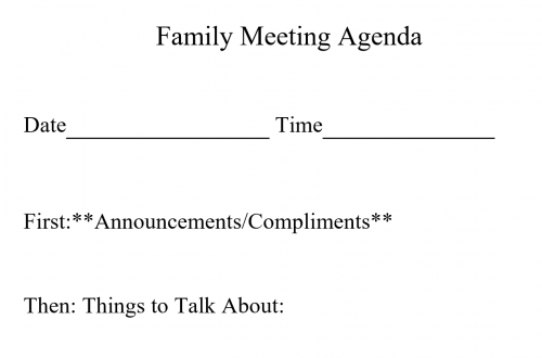 Sample Agenda Form: Family Meeting Agenda
